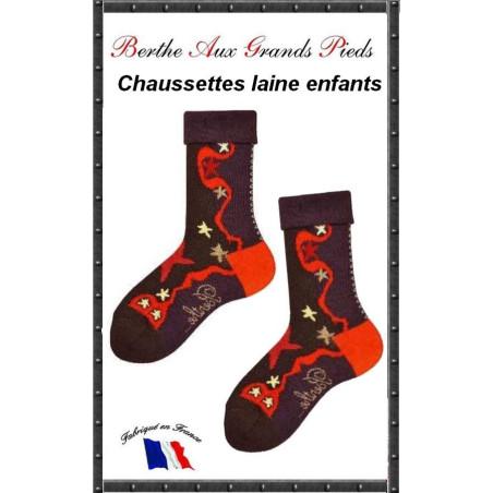 Chaussettes Layette en laine Berthe aux grands pieds etoiles
