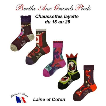 Chaussettes Layette en laine Berthe aux grands pieds assortiment