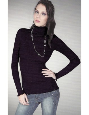 chemise ML col montant Moretta laine et soie 5377
