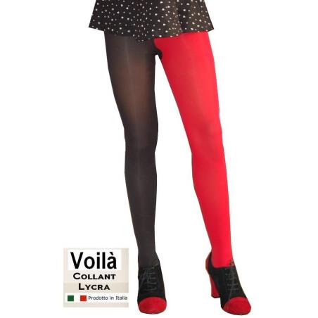 Collant bicolore rouge noir Voilà