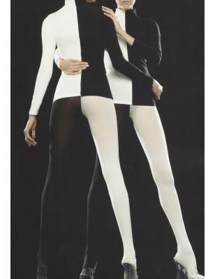 Collant bicolore blanc noir Voilà