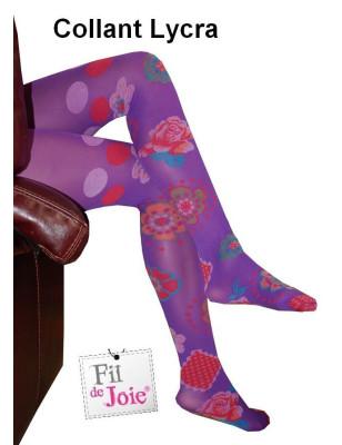 Collant fil de joie violette fleurie  Lycra