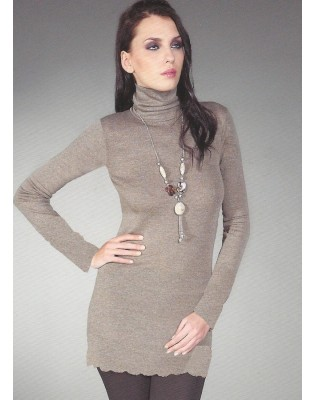 Chemise ML col cheminée taupe