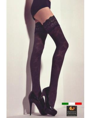 Bas up noir opaque coton dessin ajouré Cazzola Gaetano
