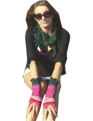 Echarpe cornu Berthe aux grands pieds fil verte