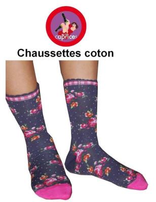 Chaussettes Les petits Caprices A fleurs bleues profil