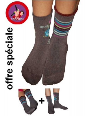 Pack Chaussettes Les petits Caprices  taupe