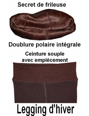 Caleçon doublé Polaire marron
