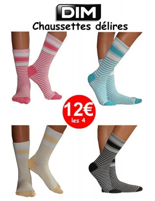 Lot De chaussettes Rayées bicolores Dim