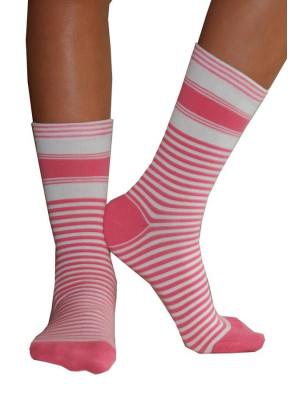 chaussettes Rayées bicolores Dim rose