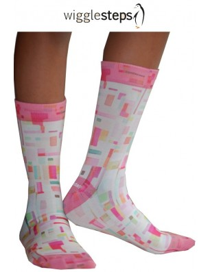 Chaussettes Wigglesteps carreaux 70 roses