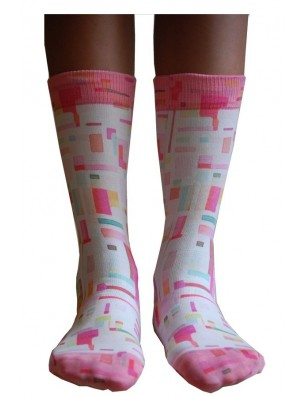 Chaussettes Wigglesteps carreaux 70 roses face