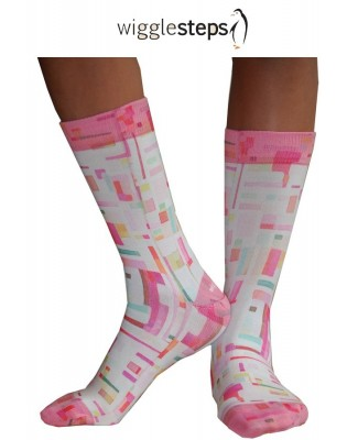 Chaussettes Wigglesteps carreaux 70 roses profil