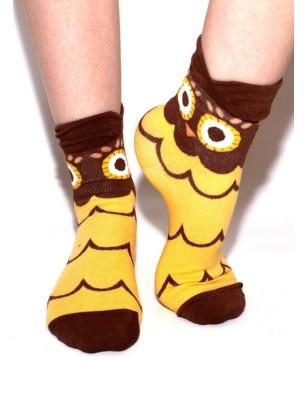 Chaussettes chouettes rigolotes jaune