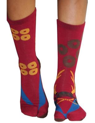chaussettes japonaises uniforme rouge