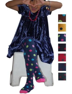Collant coton Enfant à pois de couleur