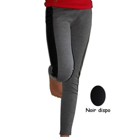 Legging coton Ado Coupé cousu simili gris et noir