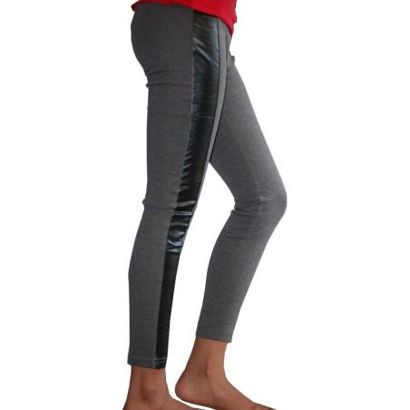 Legging coton Ado Coupé cousu simili gris