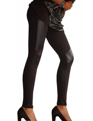Legging coupé cousu simili cuir profil
