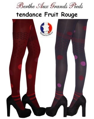 Collant Berthe aux grands pieds Pois Fruit rouge