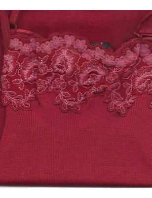 Caraco long Laine et soie Moretta rouge