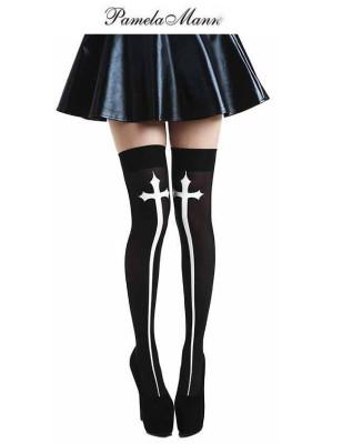 Bas cuissarde croix gothique Pamela Mann