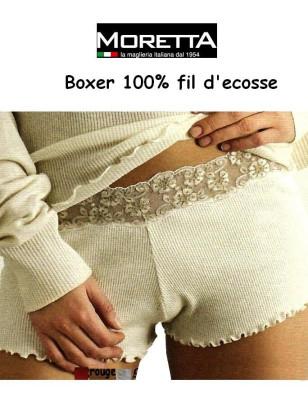 Boxer Fil d'ecosse et dentelle Moretta ivoire