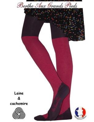 Collant laine et Cachemire Berthe aux grands Pieds Fushia Violet détail pied