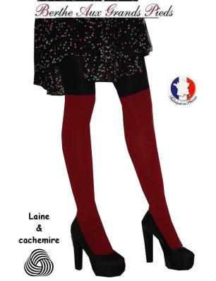Collant laine et Cachemire Berthe aux grands Pieds Bordeaux noir