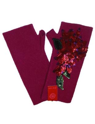 Mitaines  laine bouillie fleurs à strass