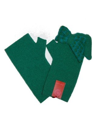 Mitaines vert Noeud Papillons laine bouillie Ariane Lespire