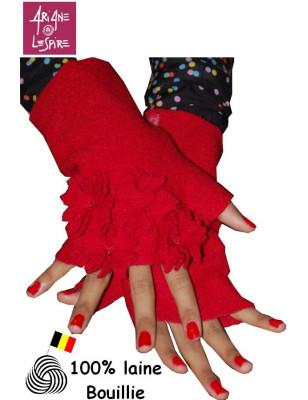 Mitaines Ariane Lespire bouquet rouge laine bouillie