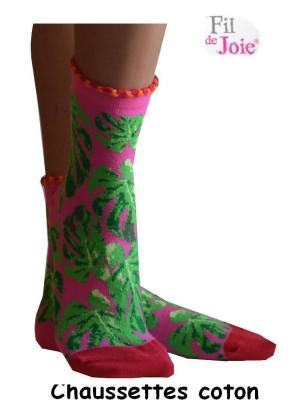 Chaussettes Fil de Joie Prairie roses