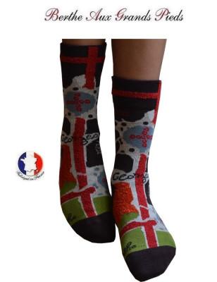 chaussettes Berthe aux grands pieds croix de saint Georges