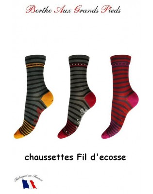 Chaussettes Berthe aux grands Pieds Fil Rayures funny