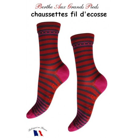 Chaussettes Berthe aux grands Pieds Fil Rayures rose