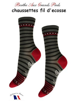 Chaussettes Berthe aux grands Pieds Fil Rayures rouge