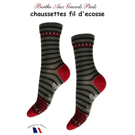 Chaussettes Berthe aux grands Pieds Fil Rayures rouge