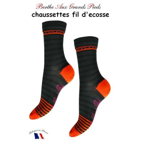 Chaussettes Berthe aux grands Pieds Fil Rayures orange