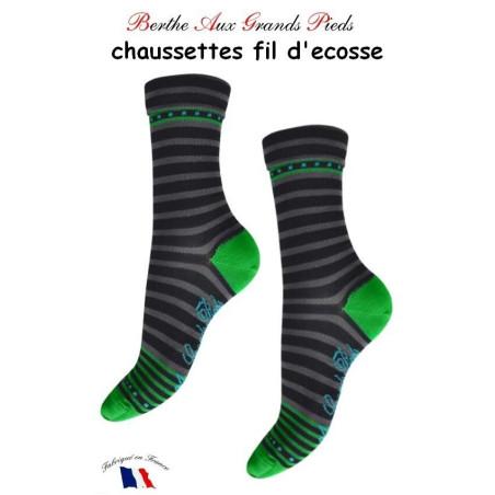 Chaussettes Berthe aux grands Pieds Fil Rayures vert