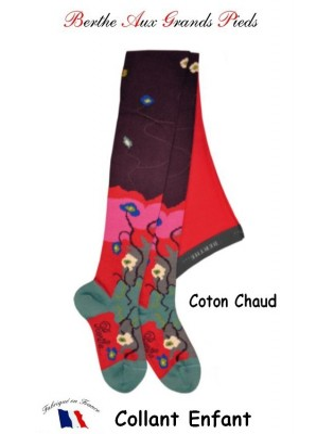 Collant Berthe aux grands pieds Enfant hiver Coquelicots