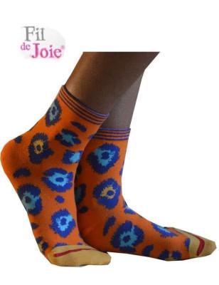 Chaussettes Fil de joie orange Panthère bleue