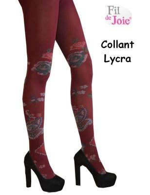 Collant fil de joie lycra Roses Bordeaux
