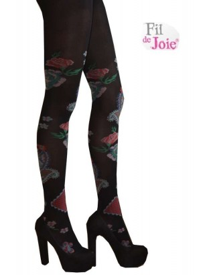 Collant fil de joie Roses noires lycra