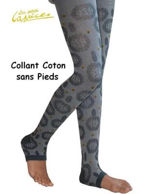 Collant sans pieds Fleurs grises coton