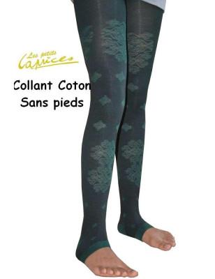 Collant vert forêt dentelle de coton sans pieds