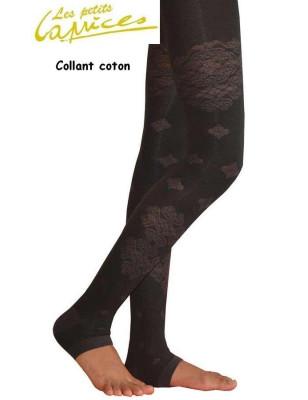 Collant nuit noire dentelle de coton sans pieds